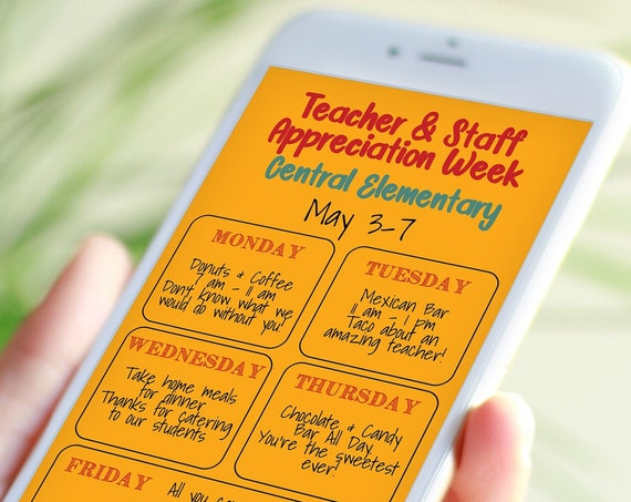 Teacher Appreciation Week Virtual Itinerary, Daily Schedule Events, Electronic, Email or Text Format, Personalized Editable Template TAW150