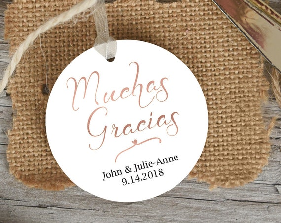 Rose Gold Muchas Gracias Tag, Round Wedding Favor Tag, Favor Thank You Tags, Spanish Editable Printable,  Instant Download, 110RG