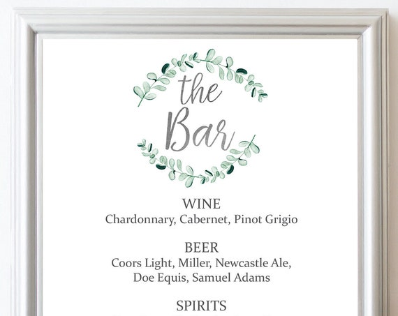 Silver Wedding Greenery Bar Menu ~ Watercolor Sign ~ Drinks Reception Sign ~ Menu Sign ~ Editable Template ~ Instant Download PDF ~ 135S