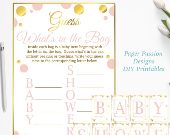 Guess What's in the Bag ~ Pink and Gold Baby Shower Game ~ Baby Girl Polka Dot ~ Printable Game PGld20
