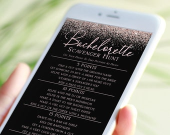 Bachelorette Scavenger Hunt Email Template, Bachelorette Party, Text Message Format, Blush Pink Glitter, 100% Editable Template PPW90 PPW92