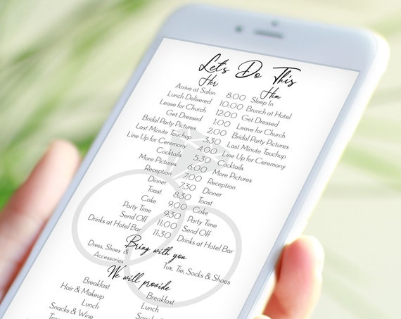 Wedding Party Timeline, Electronic Itinerary, Evite, Digital, Text Timeline, Editable Text, Diamond Ring Design, 100% Editable PPW910