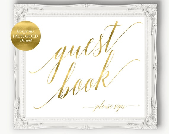 Gold Guest Book Please Sign ~ Wedding ~ Reception ~ Bridal Shower ~ Template ~ Please Sign ~ Printable ~ Instant Download ~ 120G