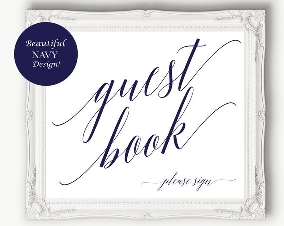 Navy Guest Book Please Sign ~ Wedding Printables ~ Reception ~ Bridal Please Sign ~ Shower Printable ~ Instant Download Template ~ 120N