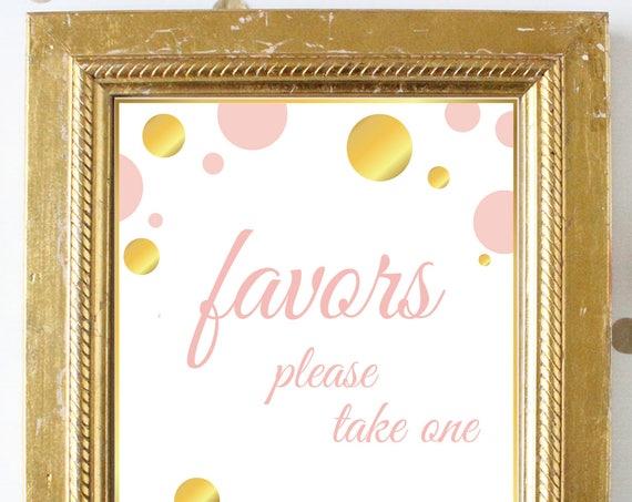 Favor Sign ~ Pink Gold Bridal Shower ~Polka Dot Shower ~ Party Printable Sign GldBridal20