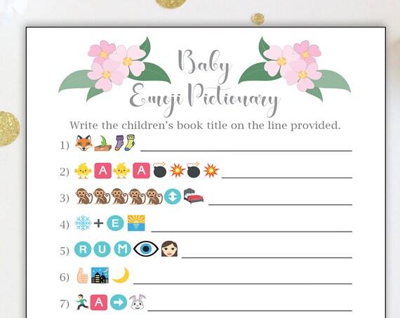 Emoji Baby Books Game ~ Pink Flowers Baby Shower Game ~ Baby Girl  ~ Printable Game  0032