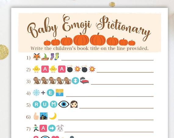 Pumpkin Emoji Baby Books Pictionary Game ~ Pumpkin Theme Baby Shower Game ~ Gender Neutral Baby Shower  ~ Printable Game  34Pumpkin