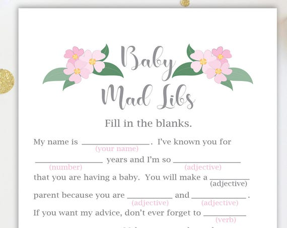 Mad Libs Baby Shower Game ~ Pink Flowers Baby Shower Game ~ Baby Girl  ~ Printable Game  0032