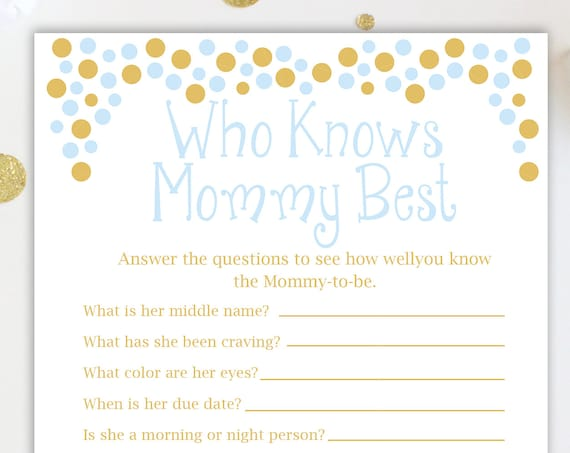 Baby Shower Who Knows Mommy Best and Who Knows Daddy Best Game ~ Blue and Gold Baby Shower Game ~ Baby Boy Pram ~ Printable Game 0024BG
