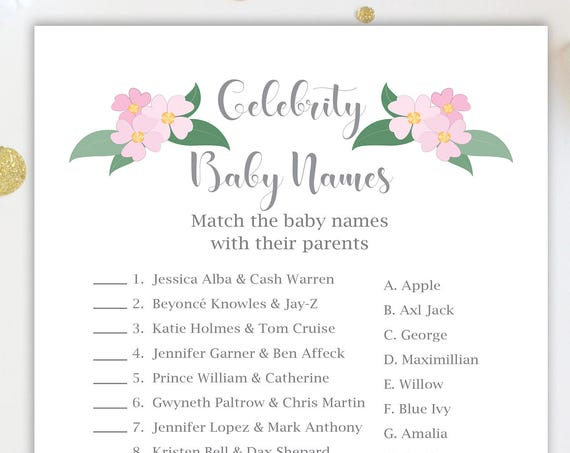 Celebrity Baby Names Game ~ Pink Flowers Baby Shower Game ~ Baby Girl  ~ Printable Game  0032