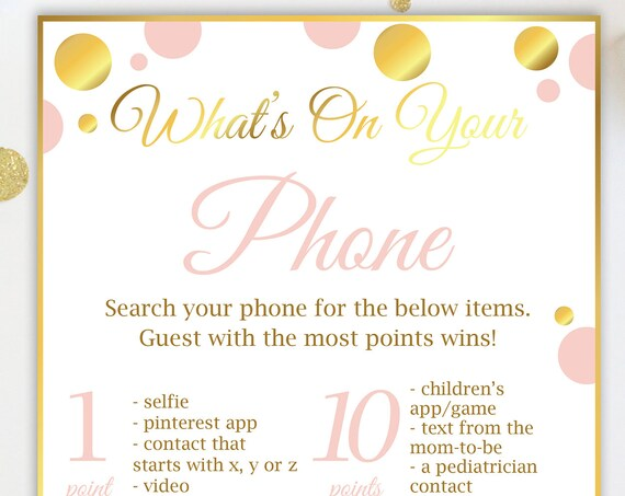 What's on Your Phone ~ Pink and Gold Baby Shower Game ~ Baby Girl Polka Dot ~ Printable Game PGld20