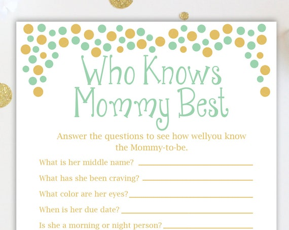 Baby Shower Who Knows Mommy Best and Who Knows Daddy Best Game ~ Mint and Gold  ~ Gender Neutral ~ Polka Dots ~ Printable Game 0024MintG