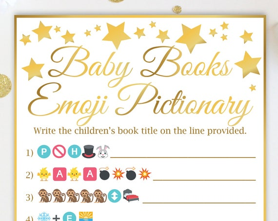 Baby Books Emoji Game, Gold Star Baby Shower Game, Gender Neutral, Printable Game 31GldStar 31GldBStar 31GldPStar