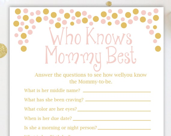 Baby Shower Who Knows Mommy Best Game ~ Who Knows Daddy Best~Pink and Gold Baby Shower Game ~ Baby Girl  ~ Printable Game Polka Dots 0024PG