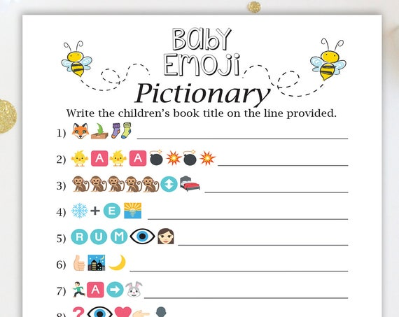 Bumble Bee Baby Books Pictionary Game ~ Yellow and Black Bee Baby Shower Game ~ Gender Neutral Baby Shower  ~ Printable Game  0040