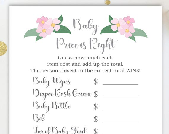 Price is Right Game ~ Pink Flowers Baby Shower Game ~ Baby Girl  ~ Printable Game  0032