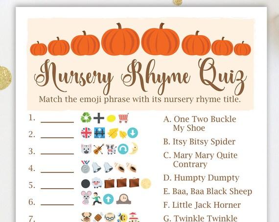 Pumpkin Emoji Nursery Rhyme Quiz ~ Pumpkin Theme Baby Shower Game ~ Gender Neutral Baby Shower  ~ Printable Game  34Pumpkin