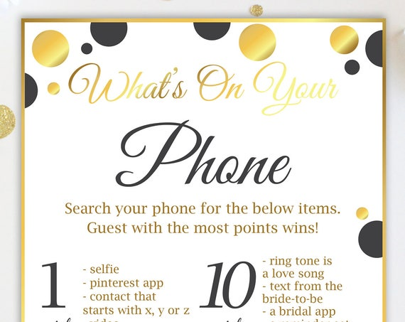What's on your Phone ~ Gold and Black Bridal Shower Game ~ Polka Dot ~ Printable Game 20GoldBlkBridal