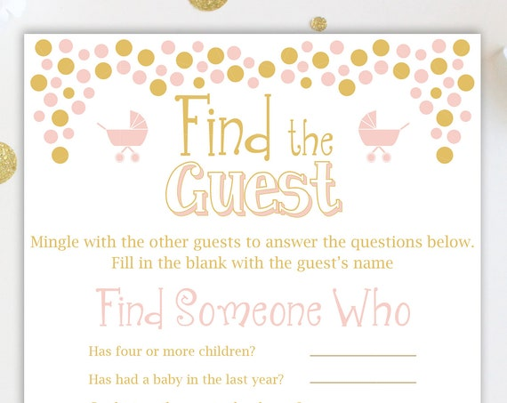 Baby Shower Find the Guest Game ~ Pink and Gold Baby Shower Game ~ Baby Girl  ~ Printable Game Polka Dots 0024PG