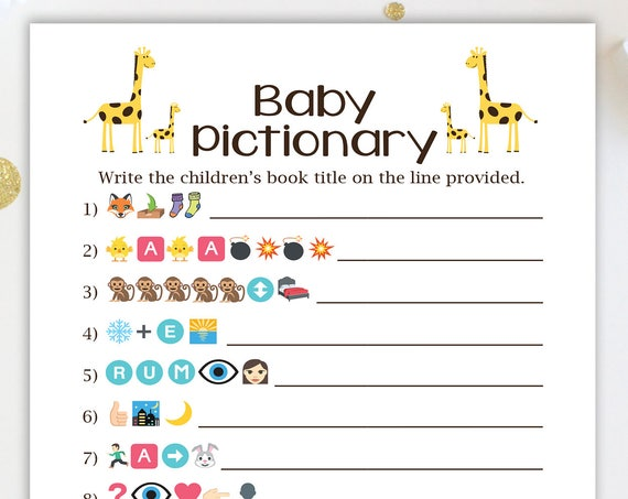 Giraffe Emoji Baby Books Pictionary Game ~ Yellow Giraffe Theme Baby Shower Game ~ Gender Neutral Template  46Giraffe 46PGiraffe 46BGiraffe