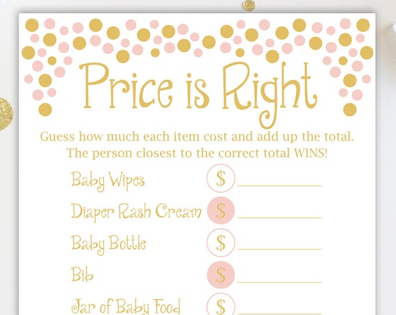 Baby Shower Price is Right Game ~ Pink and Gold Baby Shower Game ~ Baby Girl  ~ Printable Game Polka Dots 0024PG