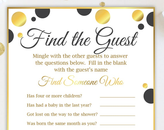 Find the Guest Game ~ Black and Gold Baby Shower Game ~ Baby Shower Gender Neutral Polka Dot ~ Printable Game 20BlkGld