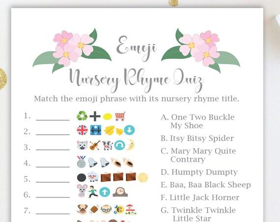 Emoji Nursery Rhyme Quiz ~ Pink Flowers Baby Shower Game ~ Baby Girl  ~ Printable Game  0032