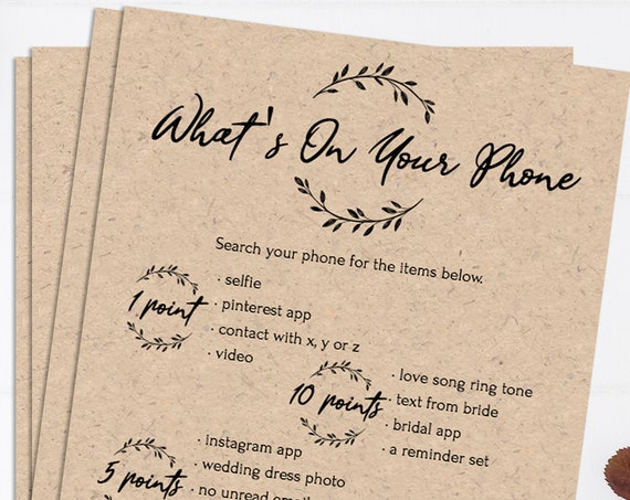Rustic Bridal Shower What's On Your Phone Game, Wreath Printable, 100% Editable Text, Instant Download, Templett, DIY PPW0330