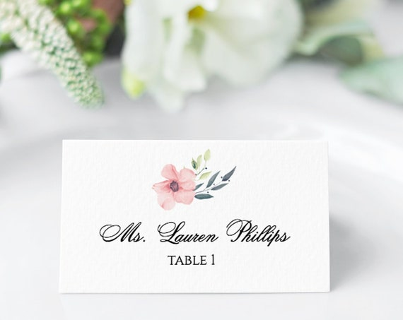 Boho Floral Wedding Place Card, Escort Cards, Printable Custom Bridal Template, 100% Editable Text, Pink Flower, Templett, DIY PPW0220