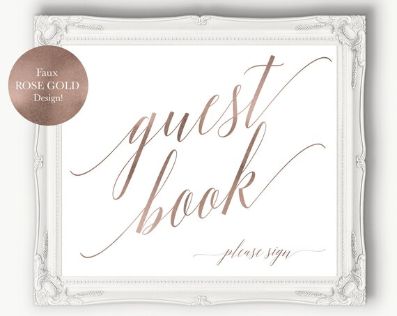 Rose Gold Guest Book Please Sign ~ Wedding Bridal Printable ~ Reception Template ~ Bridal ~ Shower ~ Please Sign ~ Instant Download ~ 120RG