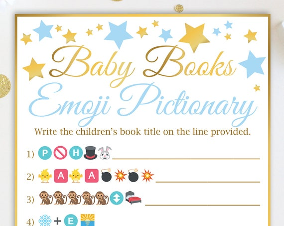 Baby Books Emoji Game, Blue and Gold Star Baby Shower Game, Baby Boy, Printable Game 31GldBStar