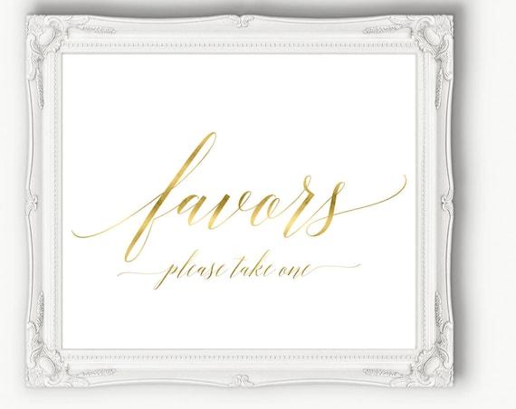 Gold Wedding Favor Sign ~ Wedding Sign ~ Editable Reception Sign ~ Landscape Sign ~ Bridal Template ~ Instant Download PDF ~ 120G