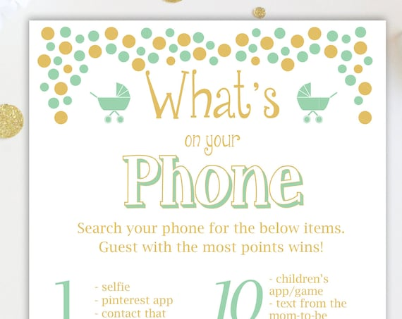 Baby Shower What's on Your Phone Game ~ Mint and Gold Baby Shower Game ~ Gender Neutral ~ Polka Dots ~ Printable Game 0024MintG