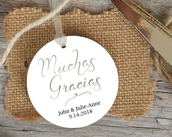 Silver Muchas Gracias Tag, Round Wedding Favor Tag, Favor Thank You Tags, Spanish Editable Printable,  Instant Download, 110S