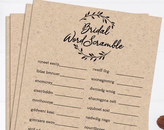 Rustic Bridal Shower Word Scramble Game, Wreath Printable, 100% Editable Text, Instant Download, Templett, DIY PPW0330