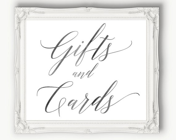 Silver Wedding Gifts and Cards Sign ~ Table Sign ~ Wedding Sign ~ Reception Sign ~ Landscape Sign ~ Template ~ Instant Download PDF ~ 120S