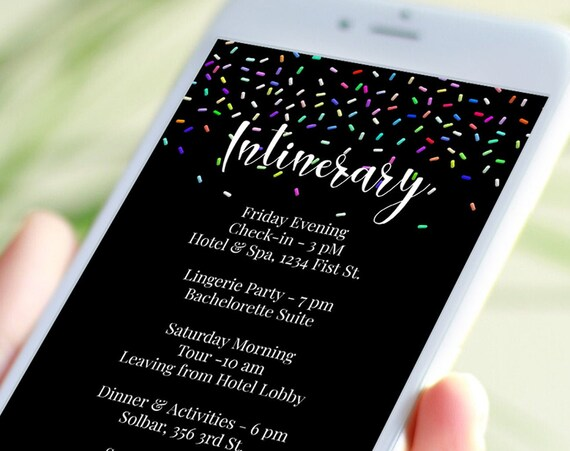 Sprinkles Electronic Itinerary Template, Bachelorette, Event Schedule, Wedding Events, Reunions, Text Message, Email, Editable SPRINKLES