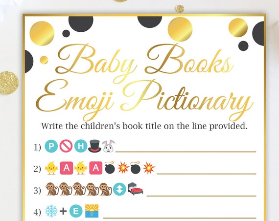 Baby Books Emoji ~ Black and Gold Baby Shower Game ~  Gender Neutral Polka Dot ~ Printable Game 20BlkGld