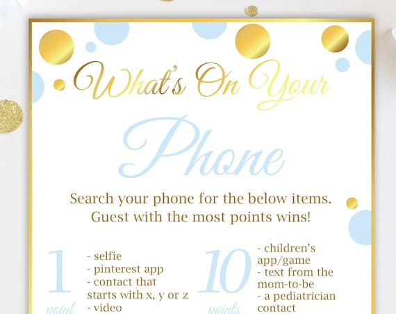 What's on Your Phone ~ Blue and Gold Baby Shower Game ~ Baby Boy Polka Dot ~ Printable Game BGld20