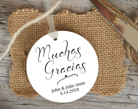 Muchas Gracias Tag, Round Wedding Favor Tag, Favor Thank You Tags, Spanish Editable Printable,  Instant Download, 110B