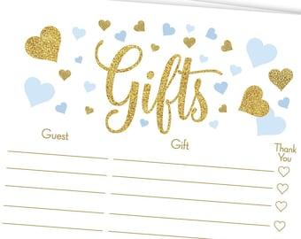 gold glitter gift list template blue and gold baby shower baby boy hearts bridal printable game 5gl_bg