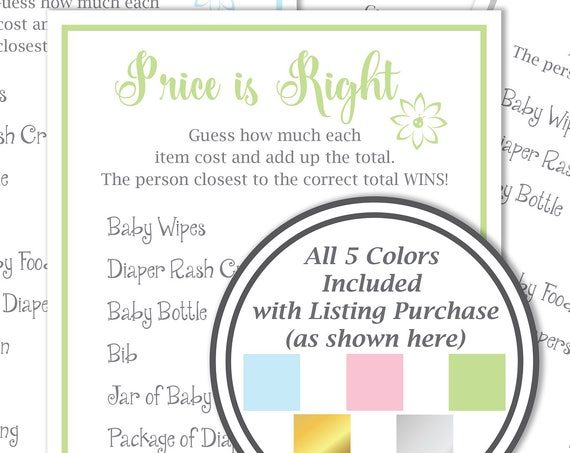 Price is Right Game ~ Baby Shower Price is Right ~ Flower~ Gender Neutral ~ Printable Game 30