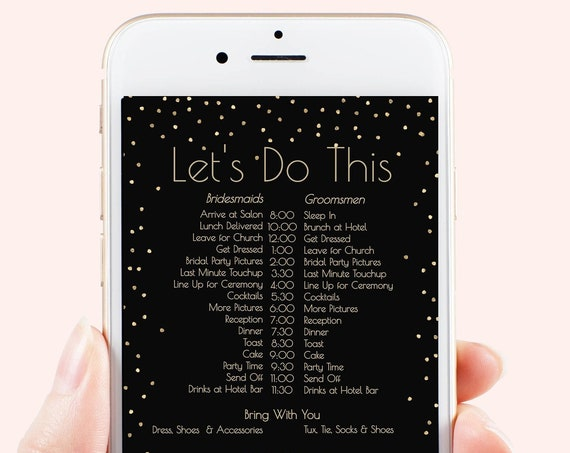 Gold Wedding Party Timeline, Electronic Itinerary, Confetti, Text Invite, Editable Text, Bridesmaid, Groomsmen, Corjl PPW01