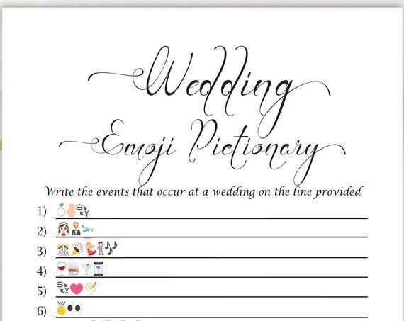 Emoji Wedding Game, Wedding Events Emoji PIctionary, Bridal Shower Game, Printable Game, 110B