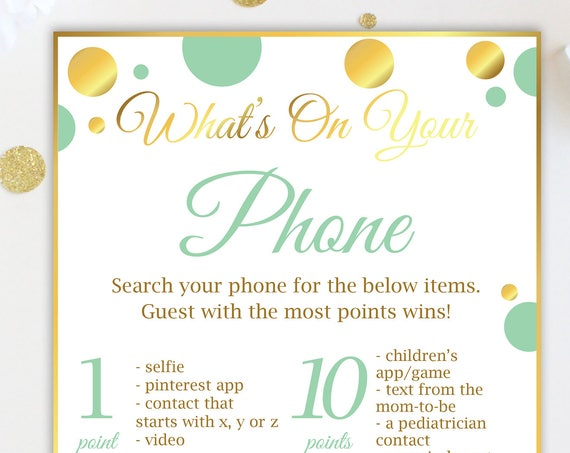 What's on Your Phone ~ Mint Green and Gold Baby Shower Game ~ Gender Neutral Polka Dot ~ Printable Game MintGld20