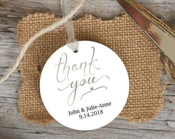 Silver Thank You Tag, Round Wedding Favor Tag, Favor Thank You Tags, Editable Printable,  Instant Download, 110S