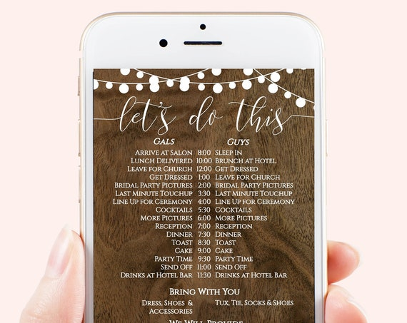 Rustic Wedding Party Timeline, Electronic Itinerary, String of Lights, Barn Wood Invite, Editable Text, Bridesmaid, Groomsmen, Corjl PPW24
