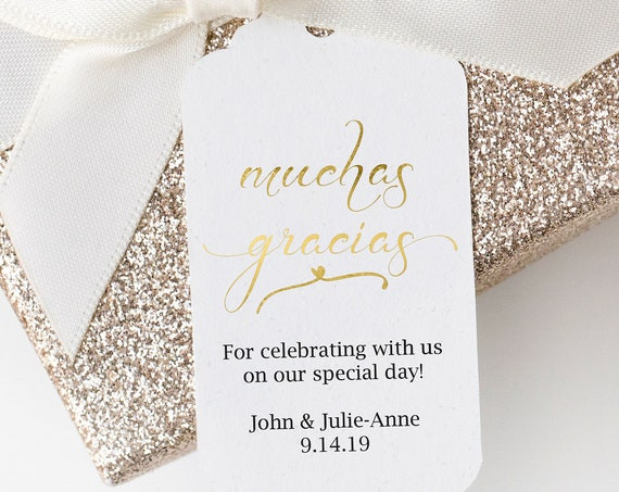 Gold Muchas Gracias Tag Template, Wedding Favor Tag, Favor Spanish Thank You Tags, Editable Printable,  Instant Download, 110G