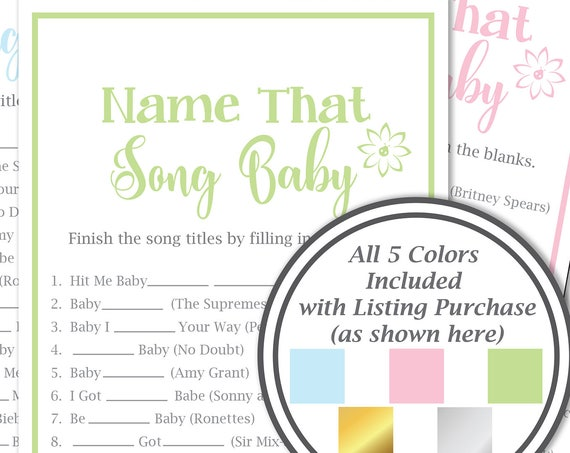 Name That Song Baby Game ~ Baby Shower Song Game ~ Flower~ Gender Neutral ~ Printable Game 30