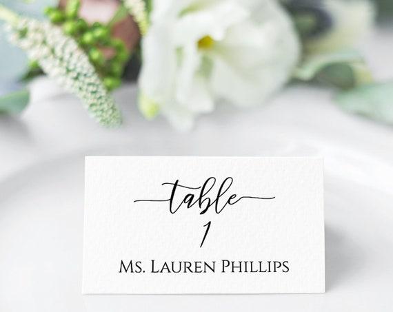 Wedding Table Place Card Template,  Minimalist Elegant Design 100% Editable, Templett PPW0550